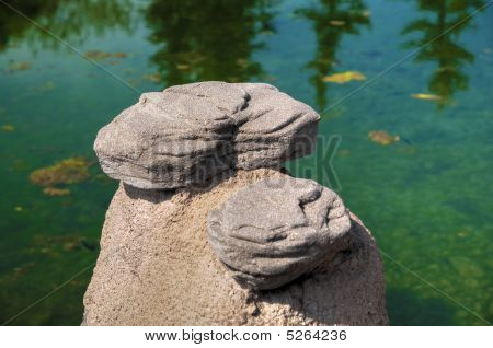 Hdr Rock Formation Over River