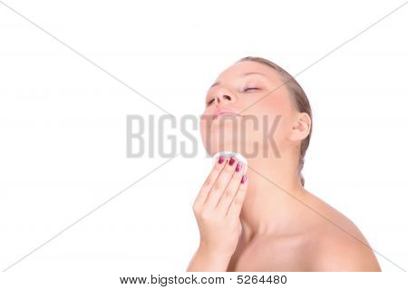 Beautiful Young Woman Taking Care Of Her Neck