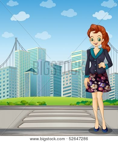 Illustration of a tall woman standing near the pedestrian lane