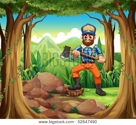 Illustration of a smiling woodman holding an axe in the middle of the forest