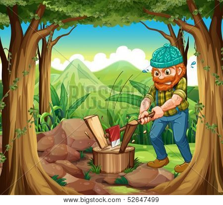 Illustration of a woodman chopping the woods in the forest near the rocks