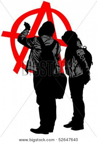 Vector drawing of anarchists with large sign. Property release is attached to the file