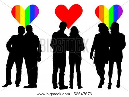 Vector drawing silhouettes of people on a background of hearts. Property release is attached to the file