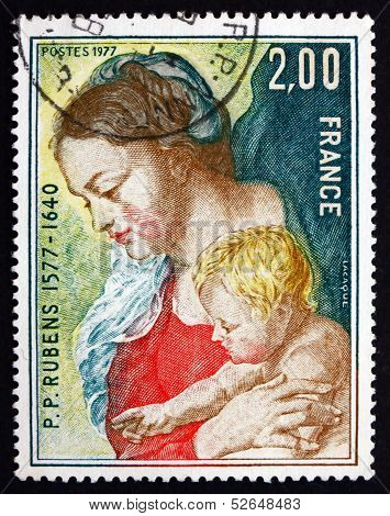 Postage Stamp France 1977 Virgin And Child, By Rubens