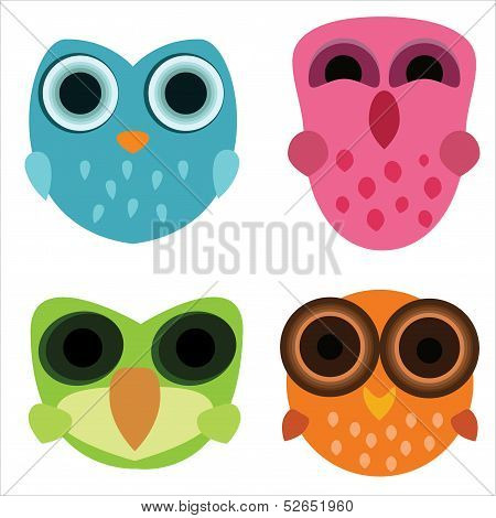 Four Cute Little Cartoony Owls