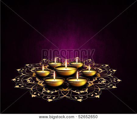 Oil Lamps With Place For Diwali Greetings Over Dark Background