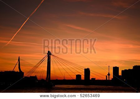 Rotterdam City Sunset Skyline