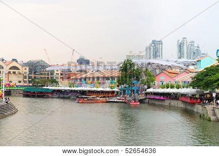 Clarke Quay Is A Historical Riverside Quay In Singapore