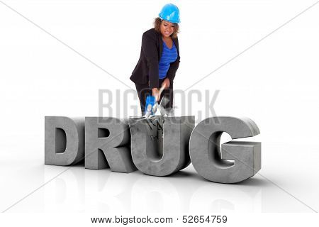 African American Woman Wearing A Protection Helmet Braking A 3D Drug Text  - Black People