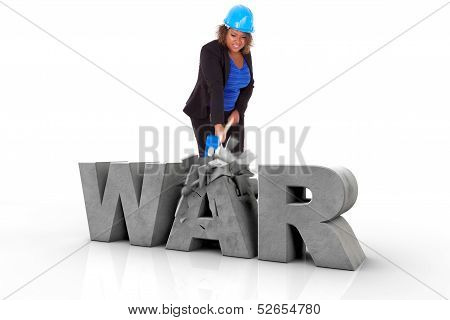 African American Woman Wearing A Protection Helmet Braking A 3D War Text  - Black People