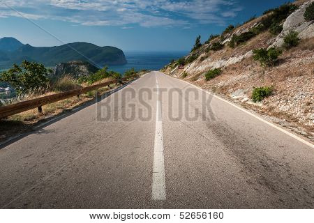Dividing Line On The Coastal Mountain Highway In Montenegro