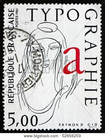 Postage Stamp France 1986 La Marianne, Typograph By Raymond Gid