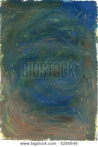Handmade Blue Texture With Yellow Scrathes