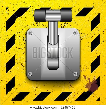 detailed illustration of a lever in upright position on a yellow construction style background