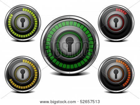 illustration of a metal framed password security meter with different levels