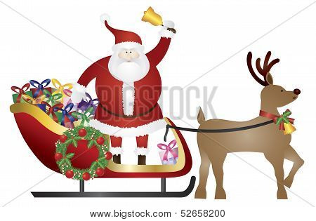 Santa Claus On Reindeer Sleigh Delivering Presents Illustration
