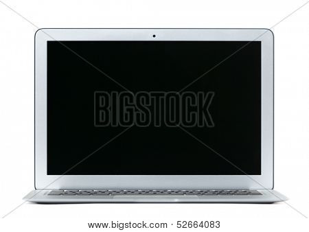 Thin gray laptop, isolated