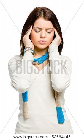 Teenager puts hands on head because of headache or unsolvable problems, isolated on white