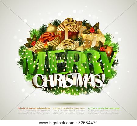 Merry Christmas composition with gifts and garlands