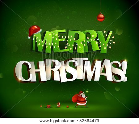 Merry Christmas inscription and Santa Claus with gifts