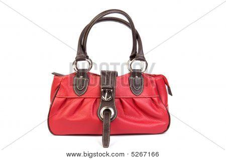 Bolsa de couro vermelho