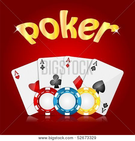 Playing Cards And Poker Chips On A Red  Background.casino Background.vector