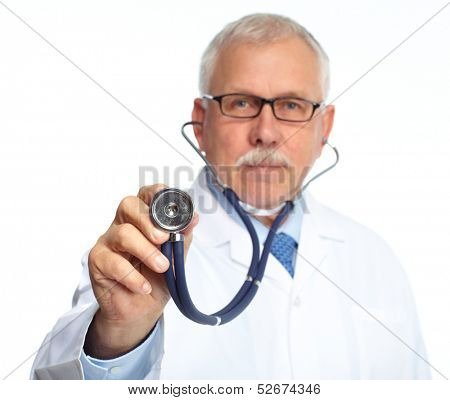 Senior medical doctor with stethoscope isolated white background .