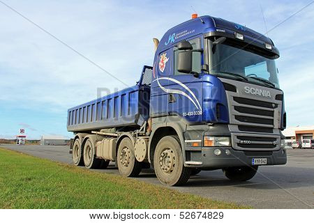 Blue Scania Heavy Duty Truck On A Parking Lot