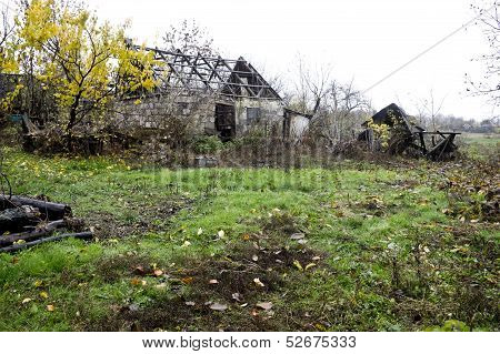 Abandoned Old House And Barn