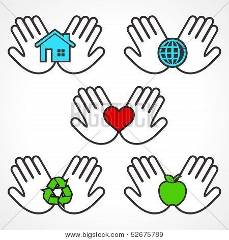 Set of environment icons with human hands stock vector