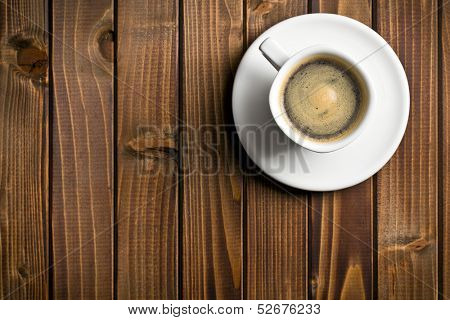 top view of black coffee in the cup on wooden table