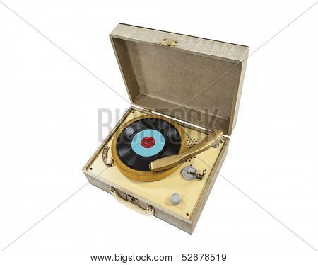 Vintage little record player in box.