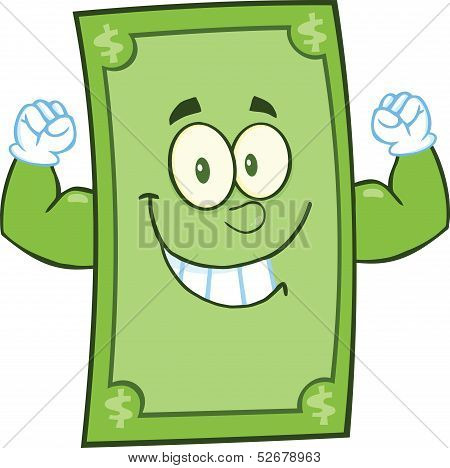 Smiling Dollar Cartoon Character Showing Muscle Arms