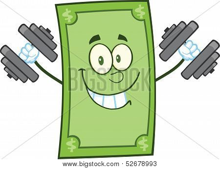 Smiling Dollar Cartoon Character Training With Dumbbells