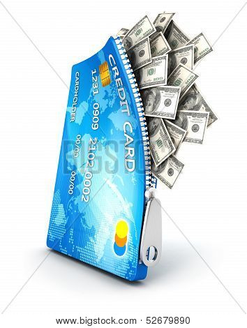 3d open credit card with dollar bills