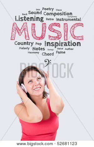 Smiling Young Woman Is Listening To Music Under The Emotions Bubble