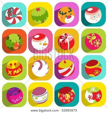 Colorful Flat Christmas Icons