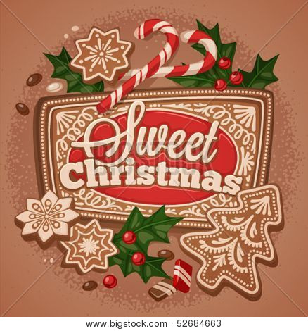 Christmas greeting card\poster\banner. Holly, cookies. Vector illustration.
