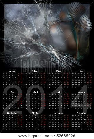 Illustration Of A German Calendar 2014 Week Starts On Monday