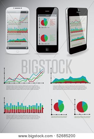 Set of infographic elements and smart-phones. with business applications on screens. Vector illustration.