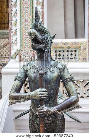 Close up of Nok Tantima Bird statue in Grand Palace of Bangkok