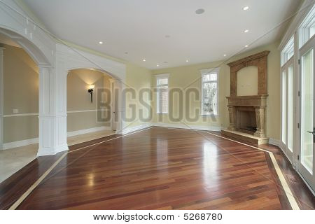 Family Room With Arched Doors