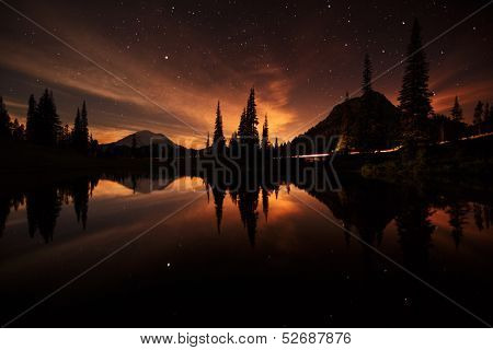 tipsoo lake reflections at night