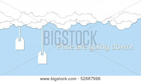 Price are going down! Price tags are going down from white clouds. Vector illustration
