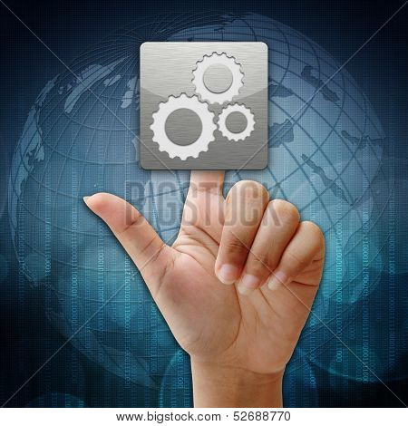 In Press  Team Work Icon On Global Background