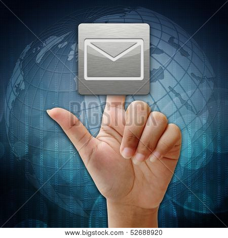 In Press Mail Icon On Global Background