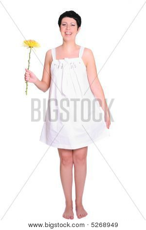 Attractive Woman With A Flower