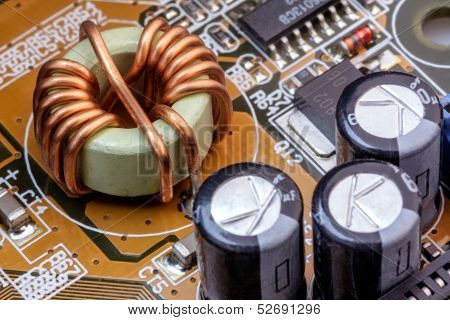Electronic Components On A Obsolete Printed-circuit Board