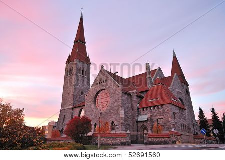 Finland.tampere Cathedral At Sunset