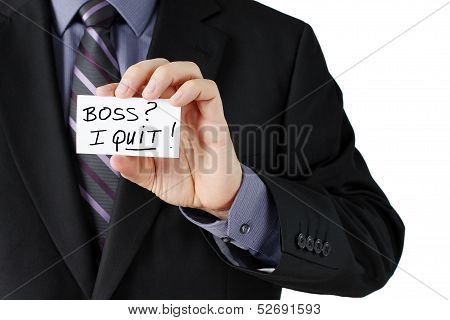 Man Holding I Quit Card